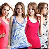 Lucky Commerce Women's Classic Solid Seamless Sports Cotton workout Tank Top Camisole Size S Pack of 4