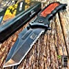 """8.25"""" SPRING ASSISTED OPEN Tactical Blade Folding POCKET KNIFE Wood Steampunk G + Free eBook by SURVIVAL STEEL 1"""