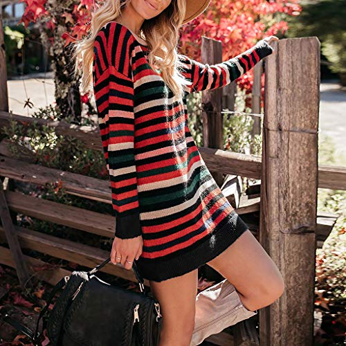 ZIYOU Pullover T-Shirts mit O-Ausschnitt Damen Beiläufiges Gestreifte Langarmshirts Tunika Minikleid