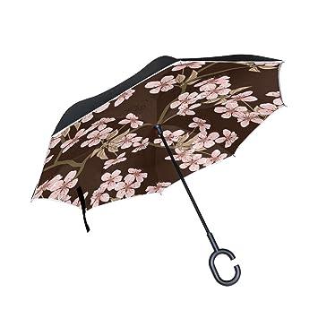 Wamika - Paraguas inverso para coche, doble capa, protección UV, paraguas invertido,