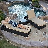 Cheap Belleze Rattan Wicker Aluminum 3 pc Chaise Lounge Chair w/ Side Table Set (Black)