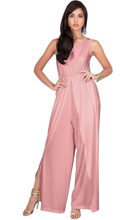 KOH KOH Plus Size Womens Sleeveless Cocktail Wide Leg Casual Cute Long Pants One Piece Jumpsuit Jumpsuits Pant Suit Suits Romper Rompers Playsuit Playsuits, Light Pink 2XL 18-20