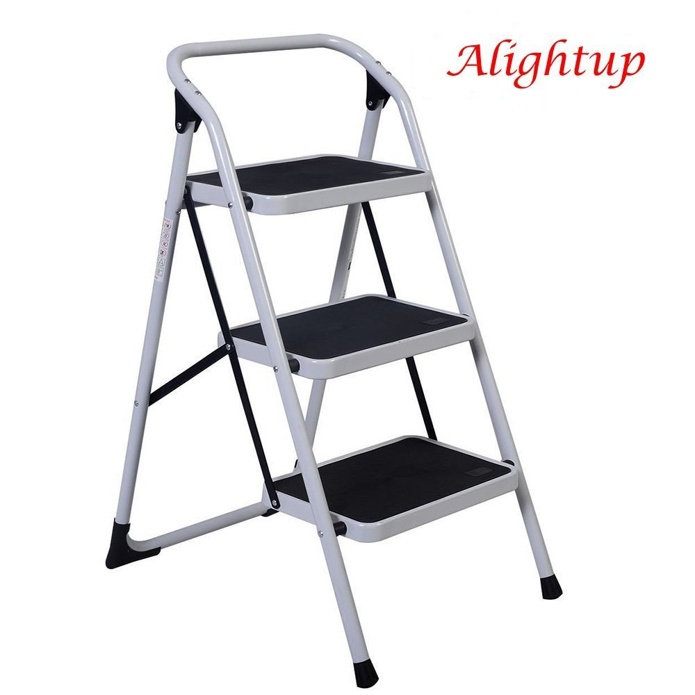 ALightUp Foldable Three Step Ladder, Portable Lightweight Short Handrail Iron Folding Stool Ladders 330 Lb Capacity