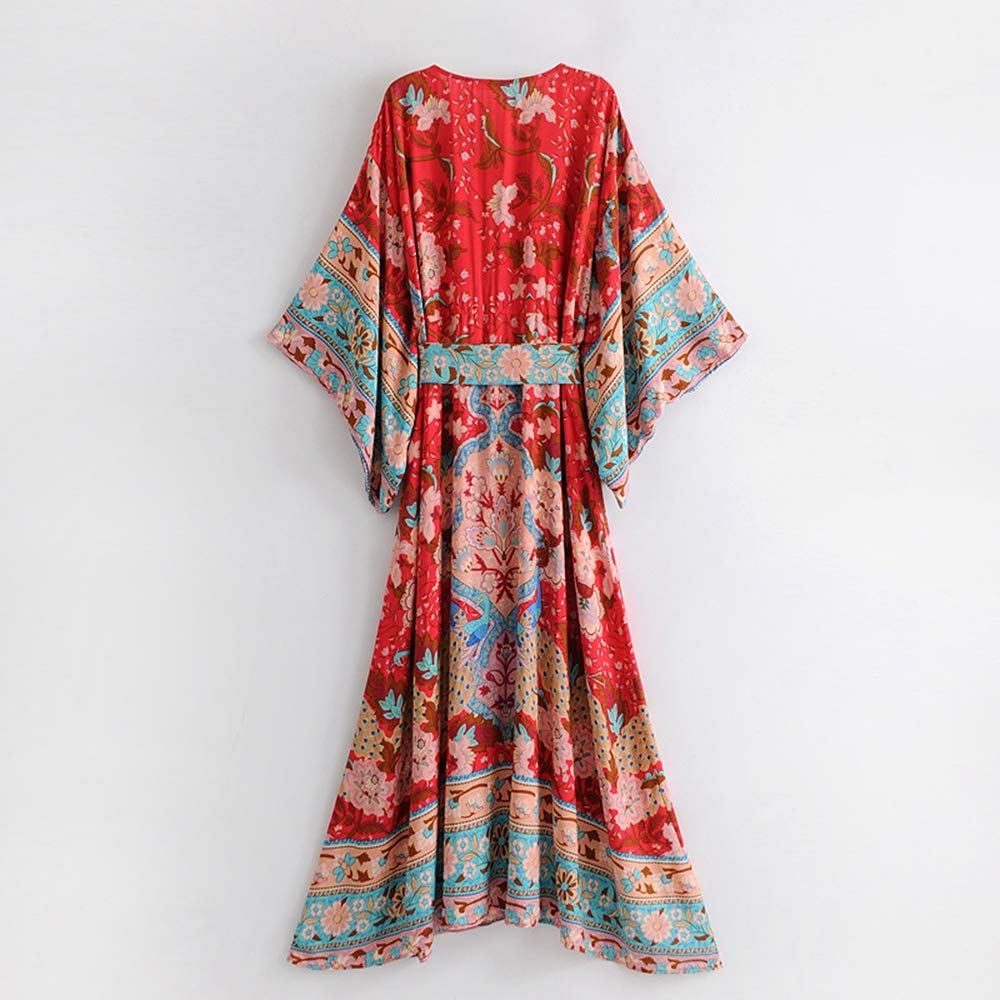 9fafb1e74 COOCOl Red Floral Print Bat Sleeve Beach Bohemian Dresses Kimono V Neck  Tassel Summer Boho Dress at Amazon Women's Clothing store: