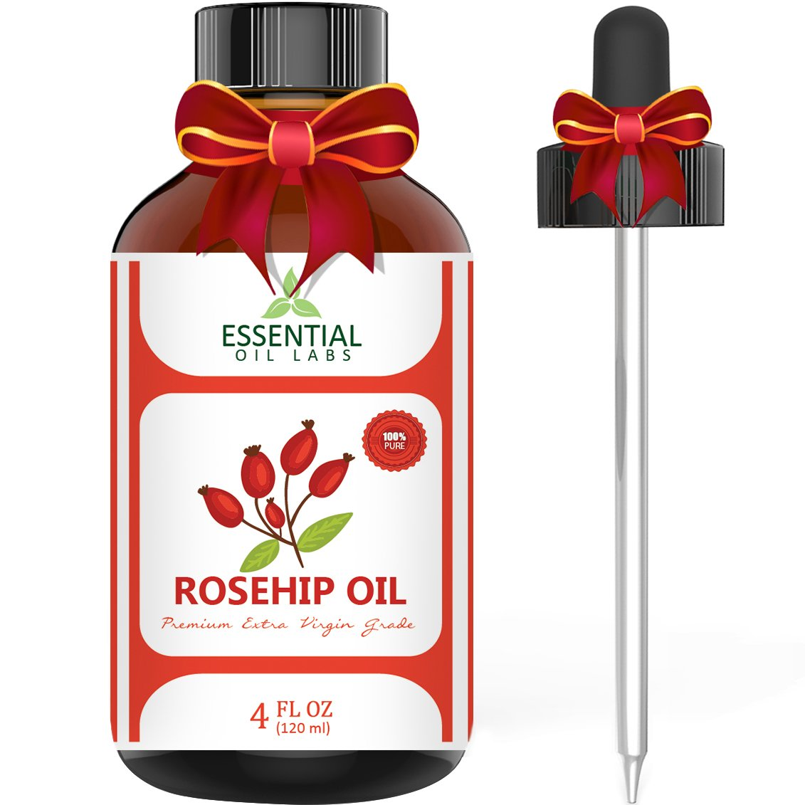 Rosehip Oil - Organic Extra Virgin Grade - Large 4 Ounce Bottle - Ultimate Beauty Companion for Face, Nails, Hair and Skin - with Premium Glass Dropper by Essential Oil Labs EOL-ROH4