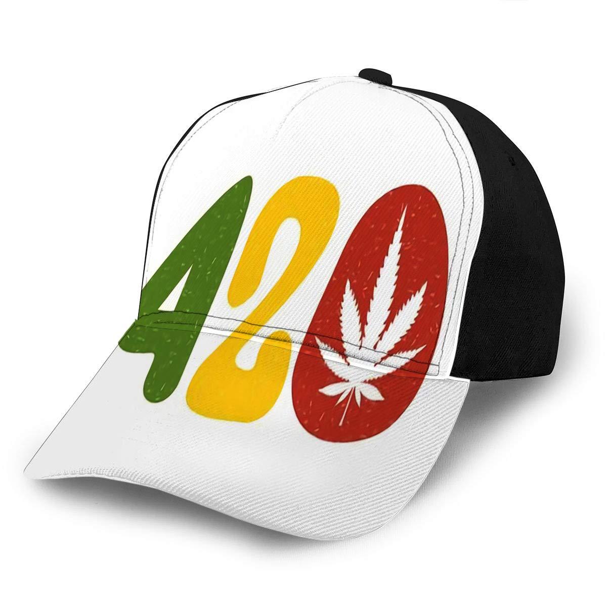 Baseball Cap Hats Snapback Color Text 420 with Cannabis Leaf Fits Men Women Boy