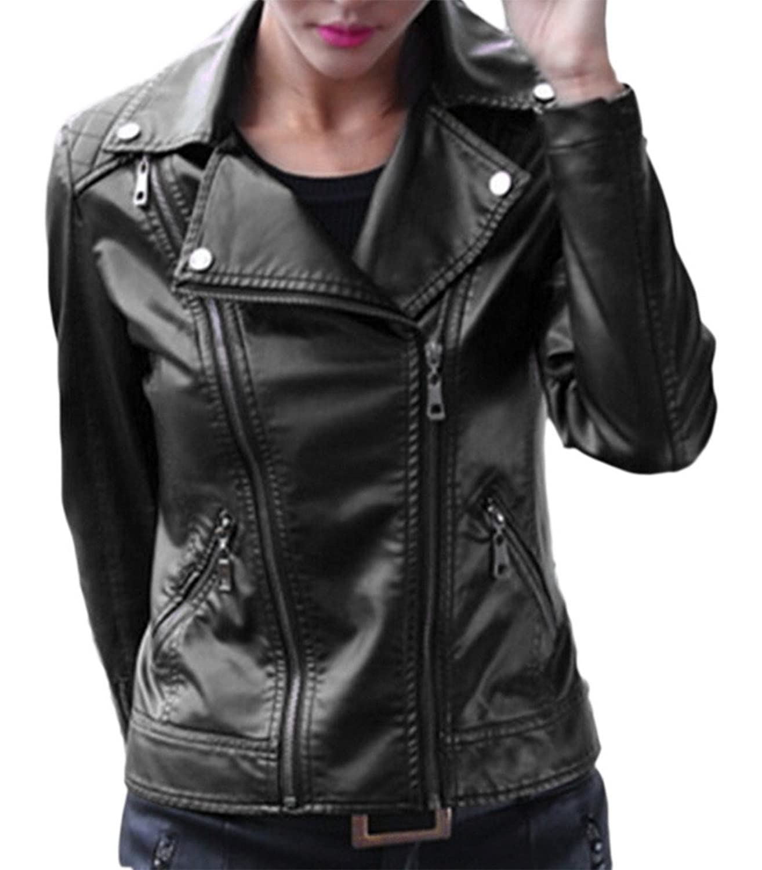 Bigood Women Classic Double Zipper PU Leather Jacket Coat