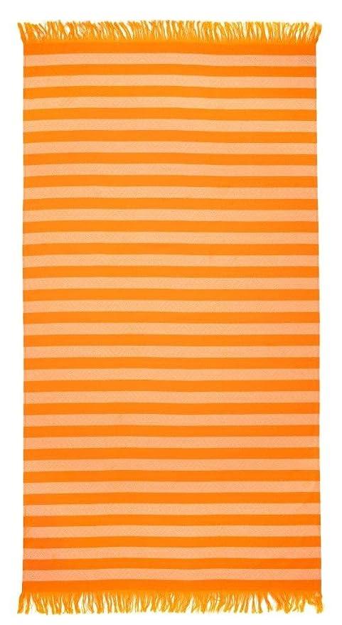 Pareo toalla de playa XL con franjas - Rayas bicolor, colores naranja - 100 x