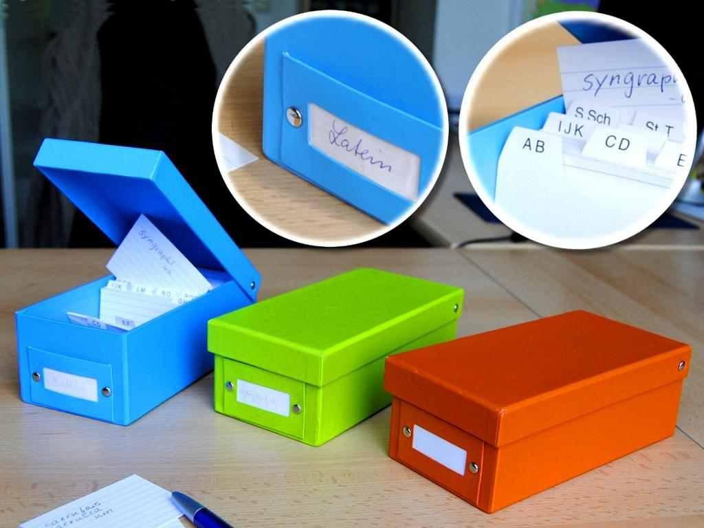 2x Lernbox Karteikasten DIN A8 f/ür Karteikarten blau