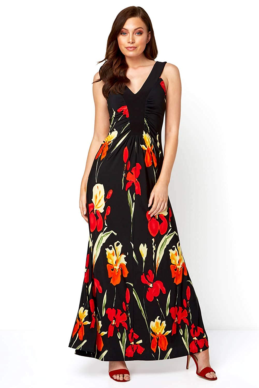 Ladies Summer Holiday Evening Dinner Everyday Daywear Casual Stretch Jersey Sleeveless V Neck Floor Length Dress Roman Originals Women Floral Contrast Band Maxi Dress