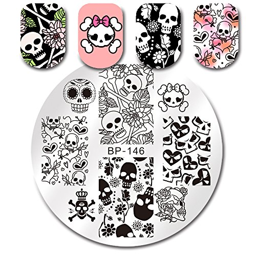 BORN PRETTY Round Stamping Plate Halloween Skull Flower Heart 5.5cm manicuring Nail Art Image Plate -