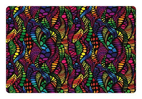 Lunarable Colorful Pet Mat for Food and Water, Exotic Tropical Mosaic Design with Leaves and Dots in Vibrant Colors Graphic Art, Rectangle Non-Slip Rubber Mat for Dogs and Cats, Multicolor