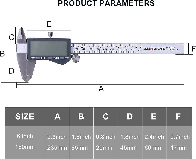 IP54 Waterproof Stainless Steel Vernier Caliper with Large LCD Screen Meterk Digital Caliper 6 inch Measuring Tool Inch//MM//Fraction for DIY Measurement and Jewelry Making