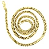 IcedTime 14K Yellow Gold Square Franco Chain 3mm Wide Necklace with Lobster Clasp 24 inches long