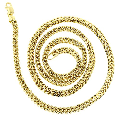 IcedTime 14K Yellow Gold Square Franco Chain 3mm Wide Necklace with Lobster Clasp 20 inches long ()