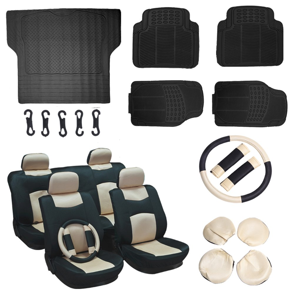 ECCPP Black/Beige Mesh Car Seat Covers W/Belt Pads/Steering Wheel Cover 5Pcs Car Floor Mats W/Trunk Liner Breathable fit Heavy Duty Vans Trucks(16pcs)
