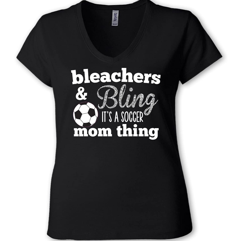 Bleachers & Bling It's A SOCCER Mom Thing Sparkly VNECK - Black