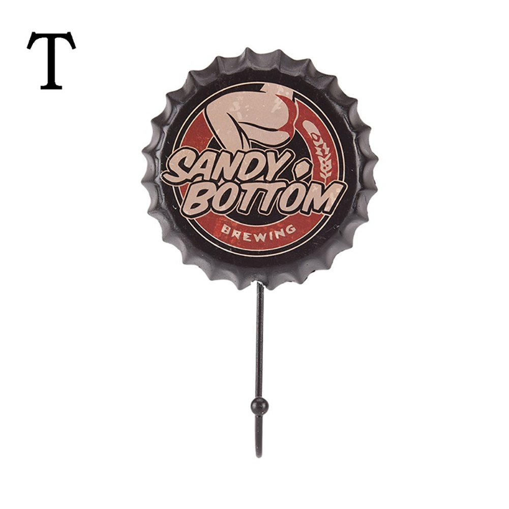 3f584f77 Amazon.com: Creative Vintage Metal Beer Bottle Cap Hook Wall Hanger Home  Cafe Bar Pub Decor - T Qsbai: Office Products