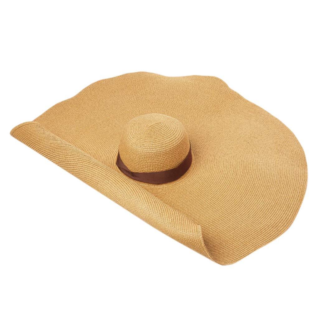 Women Summer Wide Brim Straw Hat Floppy Foldable Roll up Cap Beach Sun Hat Anti-UV Sun Protection (Coffee)