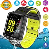 Smart Watches, IP68 Waterproof Sports Fitness Tracker with Heart Rate Blood Pressure Monitor for Men Women Kids Boys Girls Gifts Pedometer Wearable Smartwatch Wrist Watch for Running (BlackYellow)