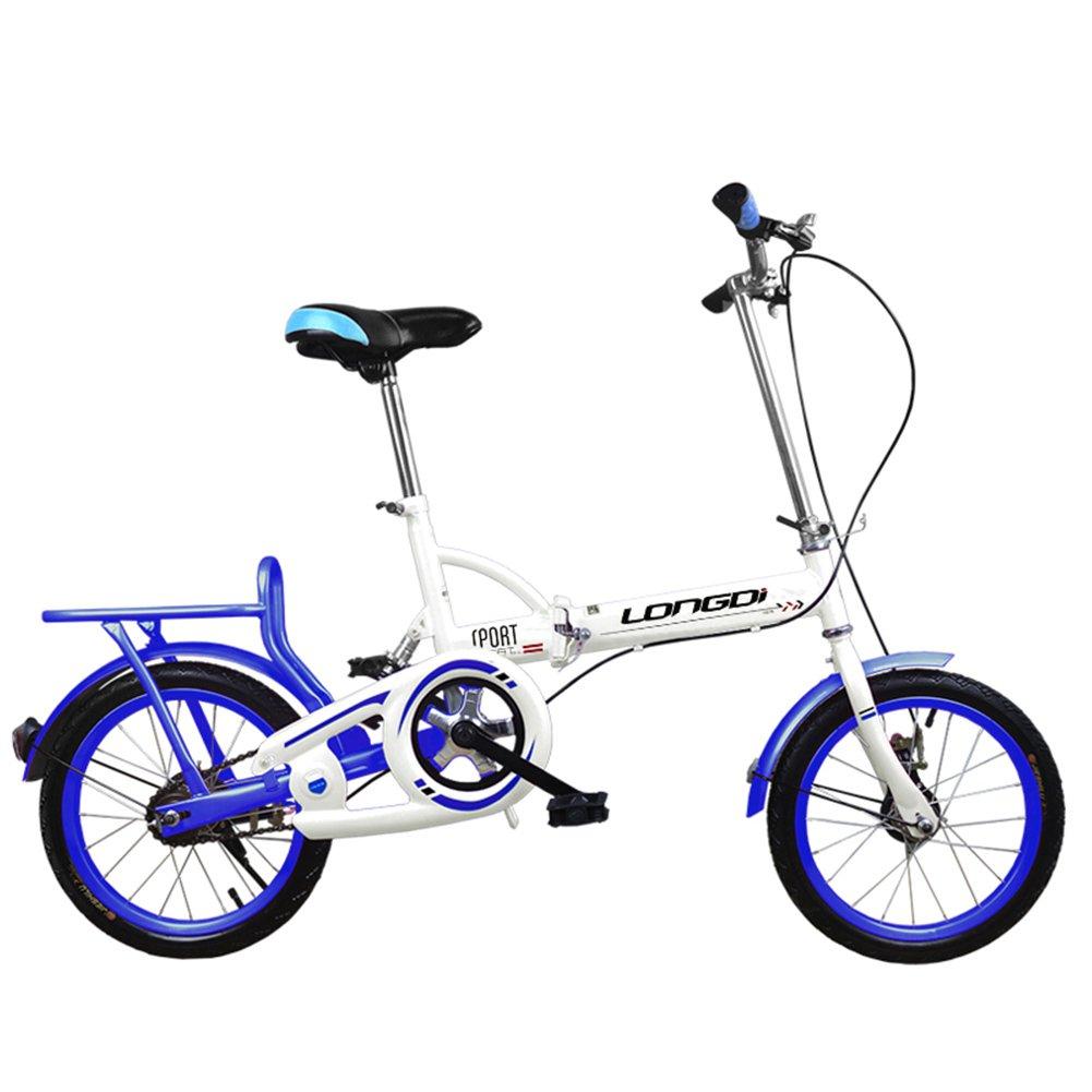 XQ 折りたたみ式自転車20/16インチ大人シングルスピード非常に軽いダンピング男性と女性の学生の子供用自転車 子ども用自転車 ( 色 : White and blue , サイズ さいず : 16-inch ) B07CKTWSDR 16-inch White and blue White and blue 16-inch