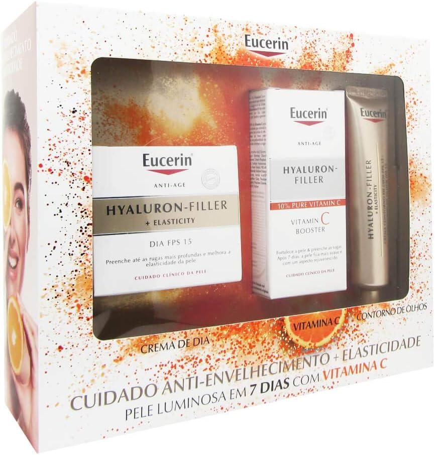 Eucerin Pack Hylaluron Filler + Elasticity Day Cream Spf 15 50ml + Vitamin C Booster 8ml + Elasticity Eye Contour 15ml