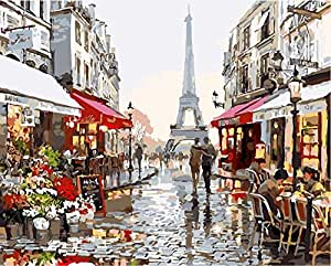 Paint by Numbers-DIY Digital Canvas Oil Painting Adults Kids Paint by Number Kits Home Decorations-Paris Flower Street 16 * 20 inch