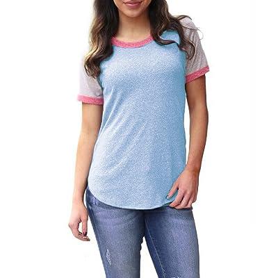 Été Femmes Blouses Longues T-Shirts Casual Col Rond Manches Courtes Blouse Haut Fashion Couleur Épissure Irrégulier Chemisiers Tunique Tops
