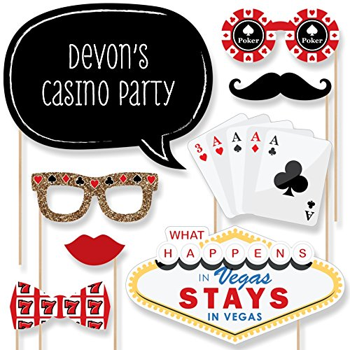 Custom Las Vegas Photo Booth Props Kit - Personalized Casino Party Supplies - Las Vegas Party Decorations - 20 Selfie Props (Las Vegas Themed Party)