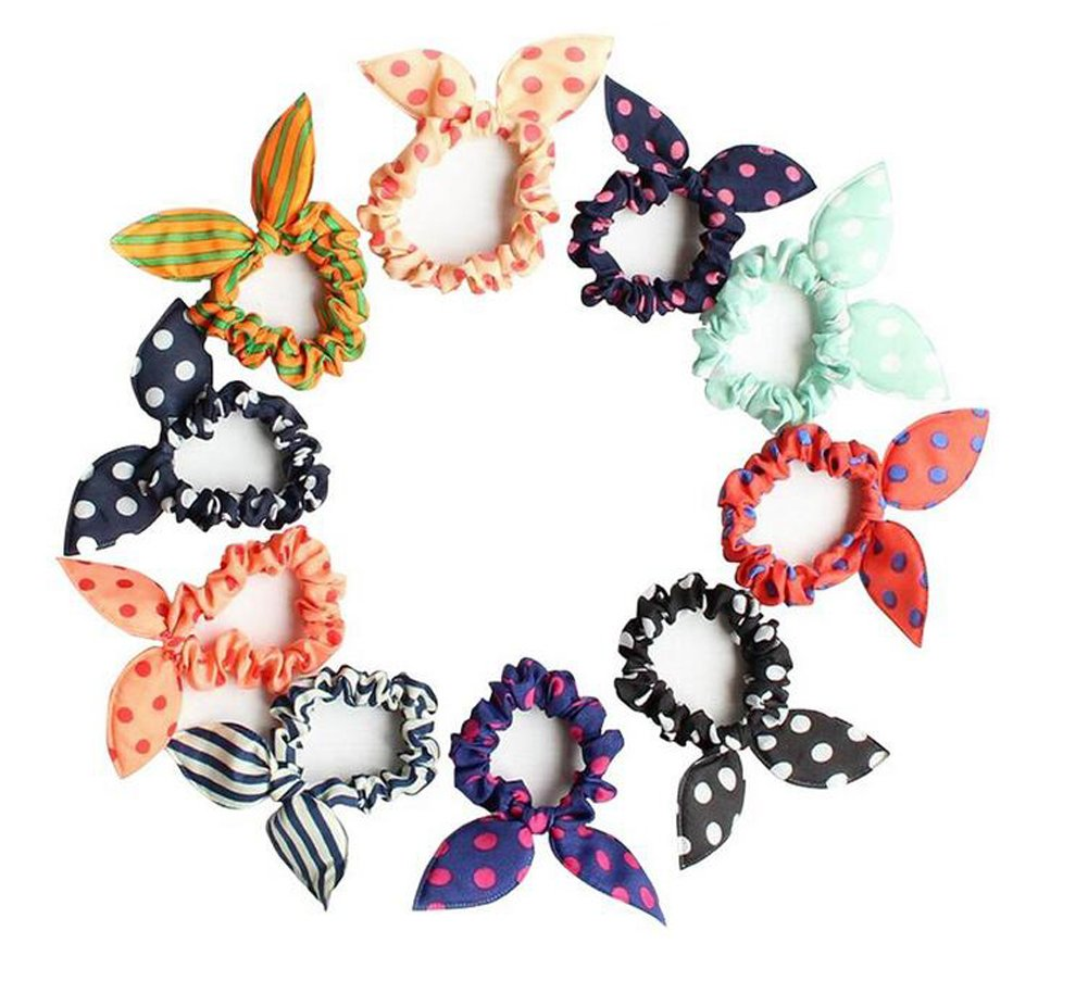 10PCS Rabbit Ear Hair Bands Bow Ties Ponytail Holder Elastic Cotton stretch Hair Ties Hair Styling Tools Headband Scrunchie Hair Acdessories (Color Random) erioctry