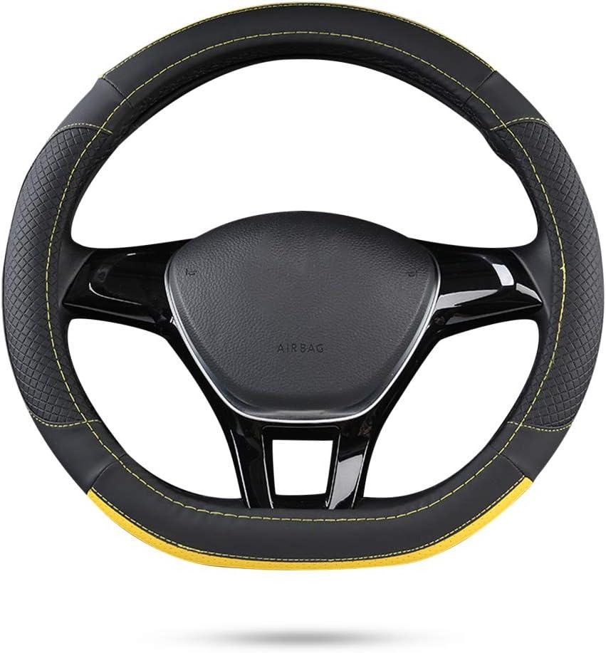 15 Ergocar Sport D-Form Auto Lenkradbezug Rutschfester Auto Lenkradschutz Mikrofaser PU Leder f/ür Durchmesser 38cm D-Schwarz-Gelb