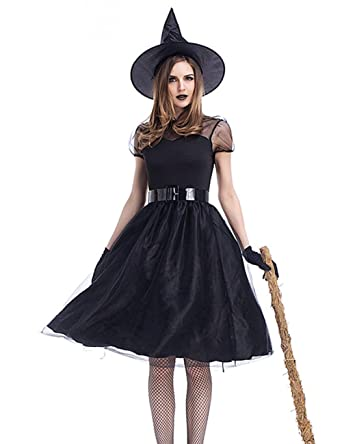 d7397115155 Colorful House Women Witch Costume, Black Wicked Lace Sexy Dress With Hats  and Tights