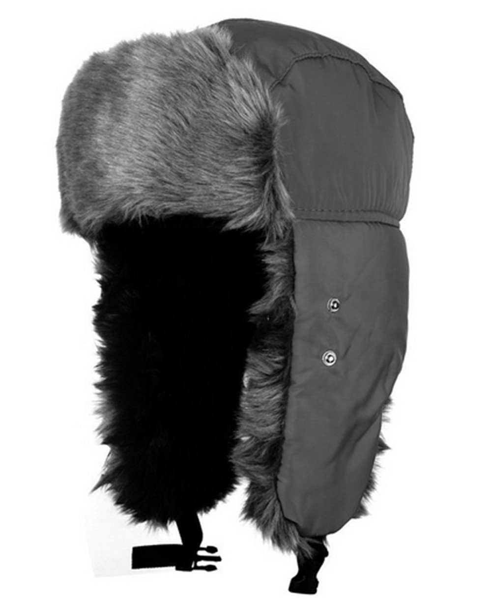Oumosi Unisex Nylon Russian Style Winter Ear Flap Hat-DarkGrey