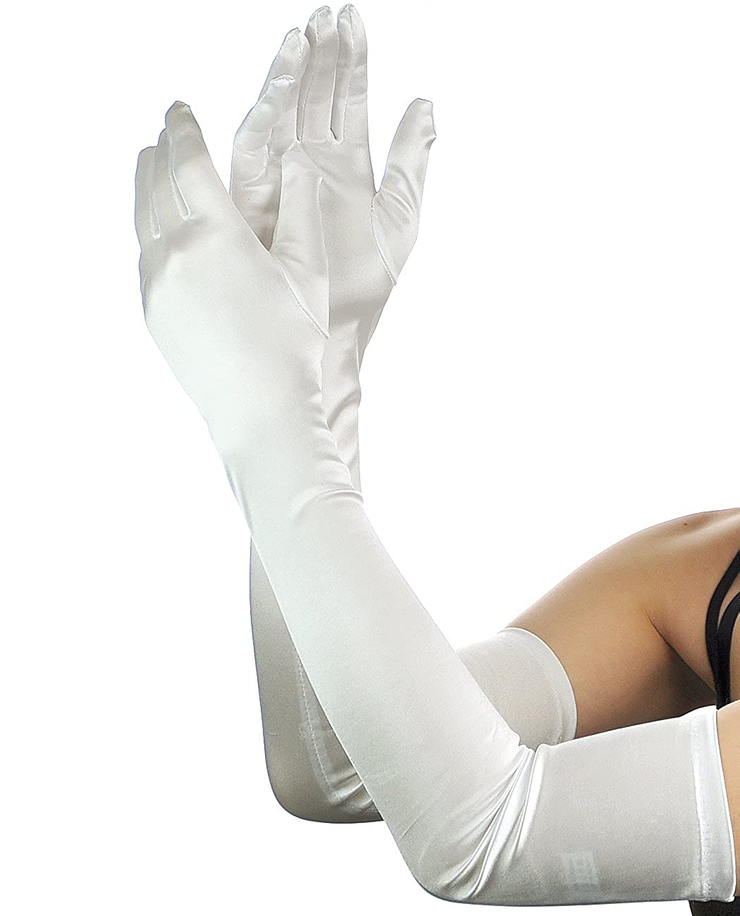Women's Classic Satin Long Opera Length Costume Gloves (Available in 12 Colors) - DeluxeAdultCostumes.com