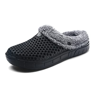 QISHENG Men's Women Mules Clogs Slip On Garden Shoes Fur Lined Slides Flip Flops Warm Winter Slipper | Mules & Clogs