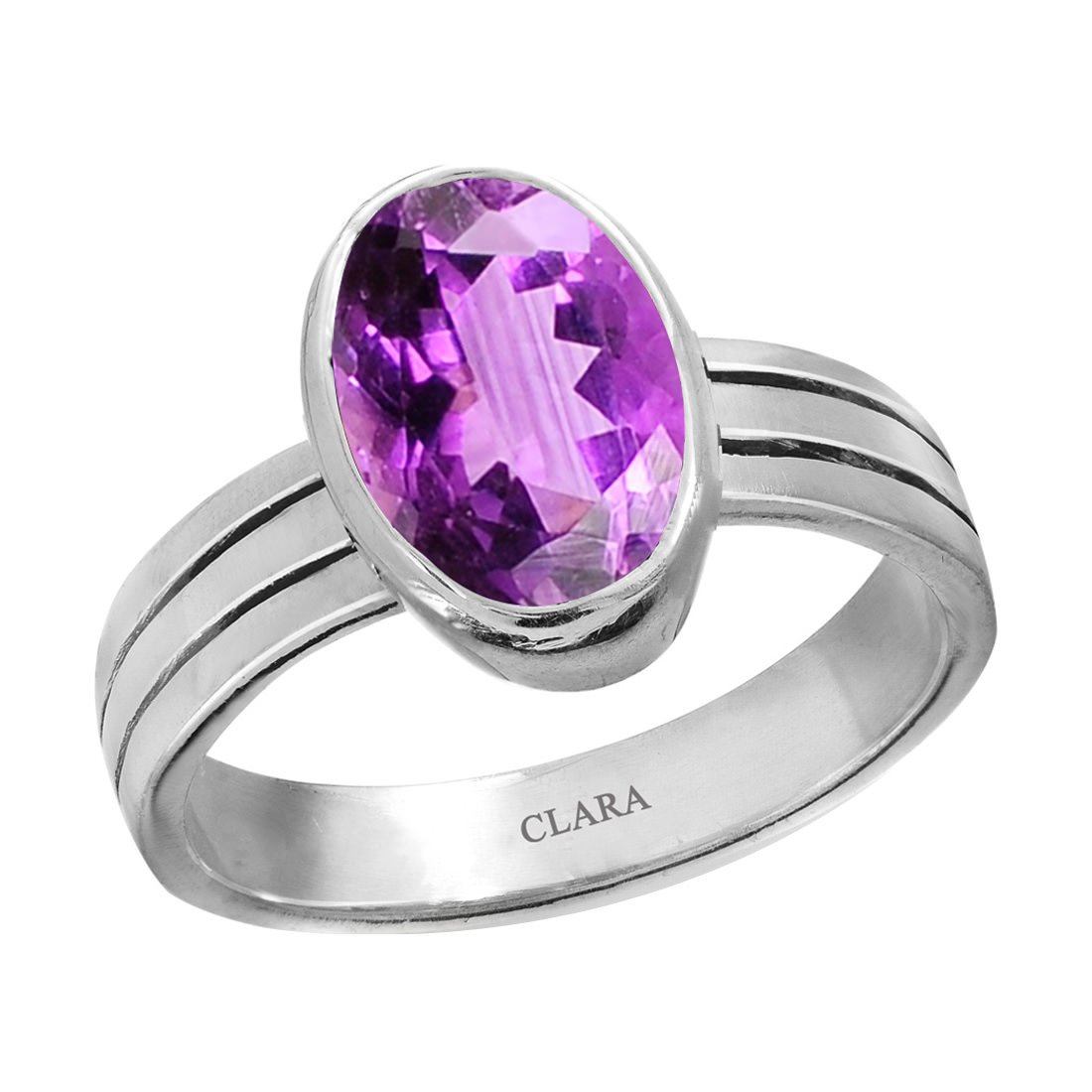 CLARA Certified Amethyst 8.3cts or 9.25ratti original stone Stunning Sterling Silver Astrological Ring for Men and Women Katela