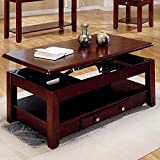 Lift Top Coffee Table lift top table Lift-top Coffee Table in Cherry Finish with Storage Drawers and Bottom Shelf