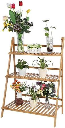 Estink - Escaleras de Flores, Estante de 3 Capas, Soporte para Flores, decoración en casa, jardín, balcón, terraza, Pasillo, de bambú, con Accesorios: Amazon.es: Hogar
