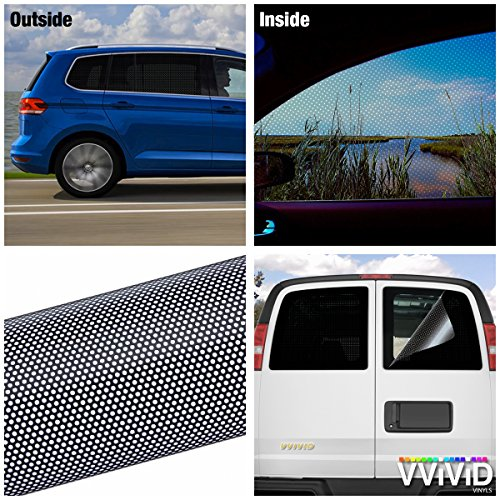 VViViD Black Perforated One-Way Vision Vinyl Automotive Window Wrap Roll (17.9