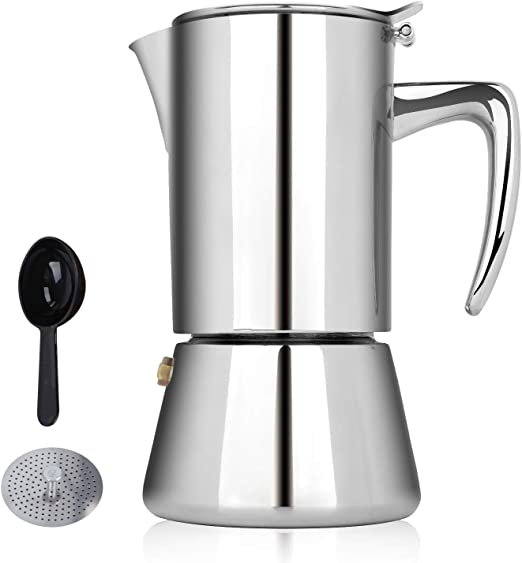 Honsdom Cafetera de inducción Italiana Cafetera Espressos en Acero Inoxidable 200ml(4 Tazas) Cafetera Moka Clásica Conveniente para la Cocina de Gas, eléctricas, de cerámica y de inducción: Amazon.es: Hogar