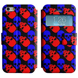 AADes Scratchproof PU Leather Flip Stand Case Apple iPhone 5 / 5S ( Red And Blue Skull )