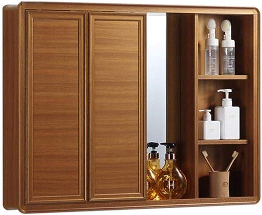 Armarios con espejo Espejo del Botiquín del Gabinete Puerta Corredera De Armario Espacio De Baño Espejo De Cortesía Oculta De Aluminio (Color : Wood, Size : 90 * 13 * 67cm): Amazon.es: Hogar