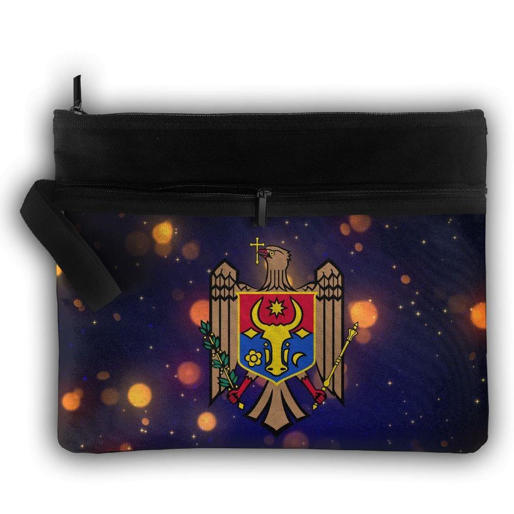 Moldova Coat Of Arms Double Layers Zipper Cosmetic Bag Makeup Brush Holder Bag