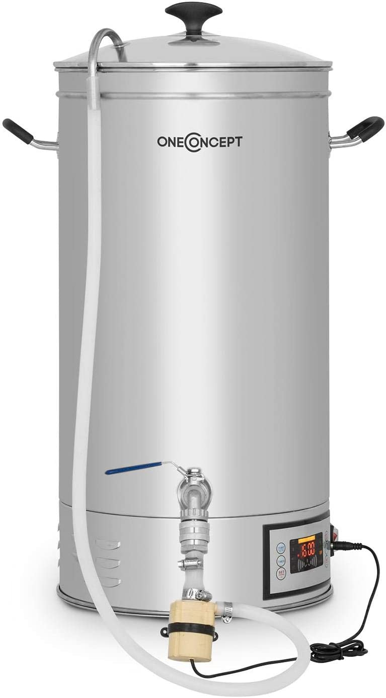 oneConcept Hopfengott 15 Caldera de maceración - Juego de fermentación, Cerveza casera, 15 L, 30-140 °C, 500-1600 W, Bomba circulación, 4 pasos programables, Pantalla, Acero, Plateado