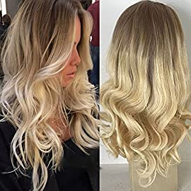 Full Shine 14″ Real Remy Human Hair Lace Front Wig Balayage Highlight Color #18 Ash Blond and Color #613 130% Real Hair Front Lace Natural Wavy Hair Wig