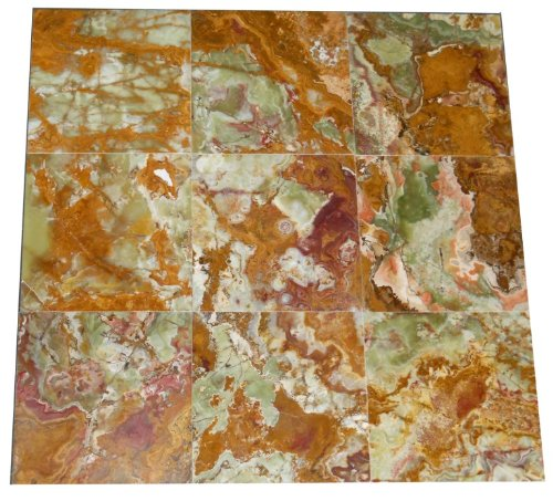 Polished Travertine Flooring (Multi Green Onyx Polished Flooring Solid Tiles 12