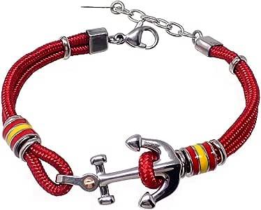 Pulsera acero 18cm. bandera España motivo ancla roja cordón [AB7222]: Amazon.es: Joyería