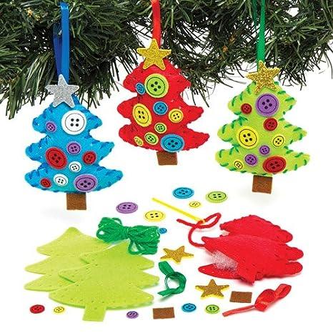 Lavoretti Da Appendere All Albero Di Natale.Baker Ross Kit Decorativi Da Cucito Con Alberi Di Natale Da