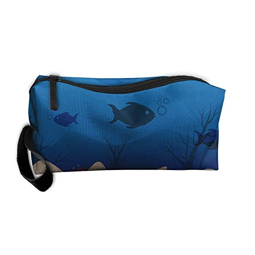 c089ecff3e4f Amazon.com: Cosmetic Bags With Zipper Makeup Bag Deep Sea Fish ...