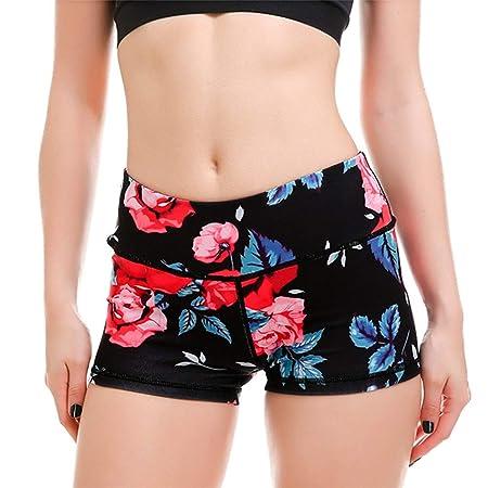 Mujer Mallas Shorts de Yoga, Mujeres Impresiones de Rose ...